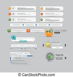 website, menükarte, eleme, design, schablone