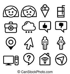 Website menu line, stroke icons set
