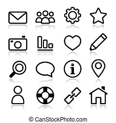 Website menu navigation stroke icon - Glossy black icons for...