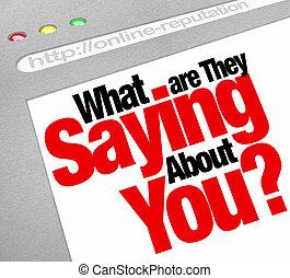 website, mondás, körülbelül, mi, hírnév, ők, online, ön