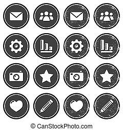 Website navigation retro labels - Vintage round labels with...