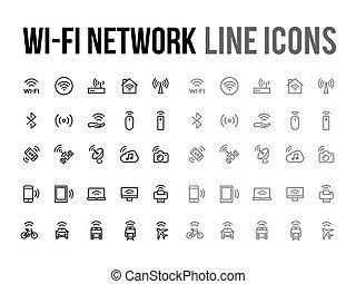 Website, netwerk, beweeglijk,  wifi,  Vector, Ontvankelijk, lijn,  App, pictogram