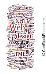 website, netz- design, wort, wolke