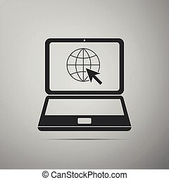 Website on laptop screen icon isolated on grey background. Laptop with globe and cursor. World wide web symbol. Internet symbol for your web site design, logo, app. Flat design. Vector Illustration