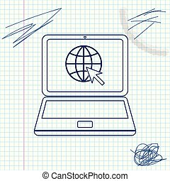 Website on laptop screen line sketch icon isolated on white...