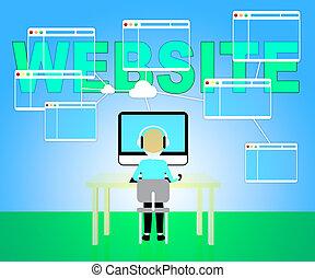 Website Online Means Browsing Internet 3d Illustration
