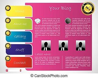 website, ontwerp, kleurrijke, mal, etiket