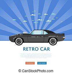 website, ontwerp, met, classieke, muscle, auto