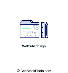 Website optimization services, design and development concept icon
