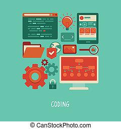website, płaski, ikony, kodowanie, -, wektor, rozwój