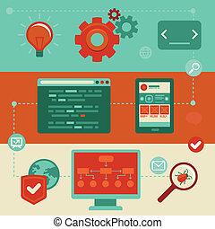 website, płaski, ikony, -, wektor, rozwój