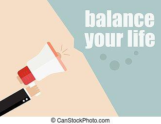 website, płaski, waga, handlowy, handel, concept., ilustracja, banners., wektor, projektować, dzierżawa, cyfrowy, life., promocja, megafon, twój, człowiek