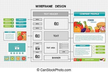 website, płaski, wireframe, szablon