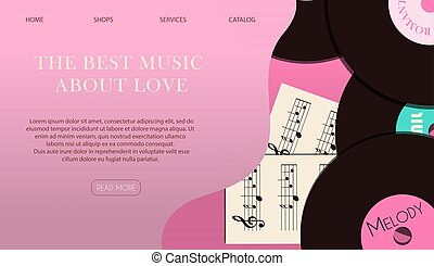 Website page with a gift for Valentine s Day. Romantic picture in pink, turquoise and red. A music store with records and songs for the holiday of all lovers. Vector illustration for the app, website and advertising banner. Flat illustration on a wooden background.