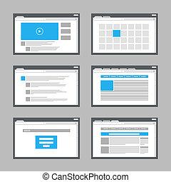 website, pagina, voorbeelden, verzameling