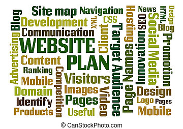 Website Plan word cloud on white background