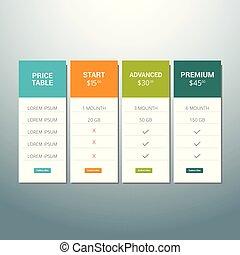 website, plat, order, set, ux, web, aanbod, lijst, doosje, knoop, tariffs., vector, ontwerp, prijzen, ui, app., spandoek, tafel, plan