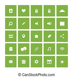 website, plat, set., plein, iconen