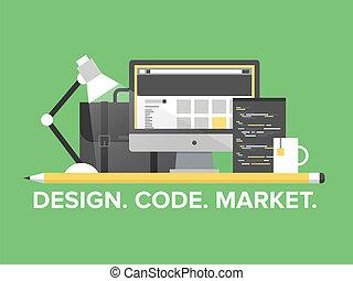 website, programowanie, kierownictwo, płaski, ilustracja