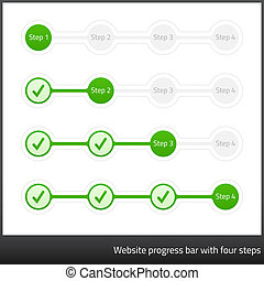 Vertical progress, step, phase indicators with 5 steps