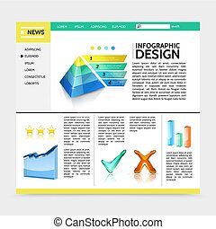 website, realistyczny, infographic, projektować, szablon