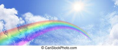 website, regenboog, hemel, spandoek