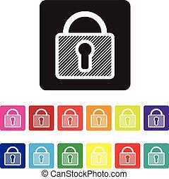 website, sæt, secure, ikon