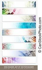 website, satz, bunte, fußzeile, muster, abstrakt, -, kopfsprung, horizontal, banner, oder