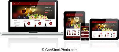 website, schablone, auf, mehrfach, vorrichtungen &...
