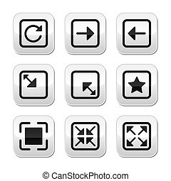 Internet grey buttons set - page size