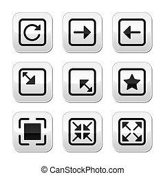 Website screen sizebuttons set - Internet grey buttons set...
