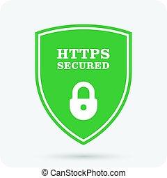 website, secure, certifikat, ssl, -, hængelås, https, skjold
