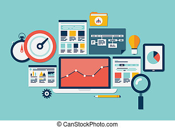Flat design vector illustration icons set of website SEO optimization, programming process and web analytics elements. Isolated on turquoise background
