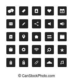 website, set., skwer, wektor, ikony