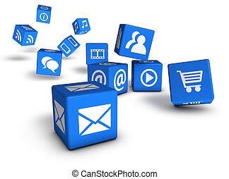 website, sozial, medien, und, internet, würfel