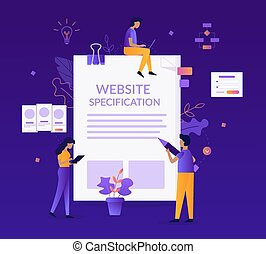 Website specification concept. A team of specialists...