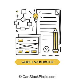 Website specification doodle icon. Web development. Hand...