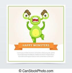 website, sprytny, potwór, zabawny, ruchomy, gniewny, rysunek, potwory, wektor, zielony, app, element, chorągiew, albo, szczęśliwy