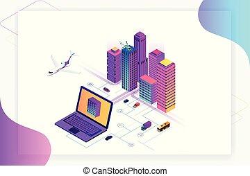 website, stadt, isometrisch, begriff, city., sachen, modern, heiligenbilder, wirklichkeit, internet, dienstleistungen, template., netze, klug, augmented
