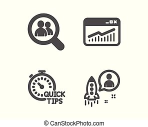 Website statistics, Quick tips and Search employees icons. Startup sign. Vector