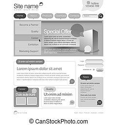 website, szary, grid., 960, szablon