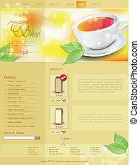 website, te, vektor, skabelon, shop