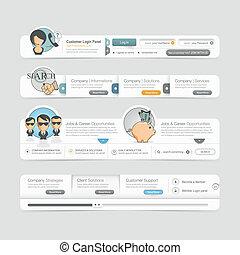 Website  template design menu navig