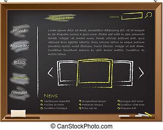 Website template design on blackboard drawn with chalk