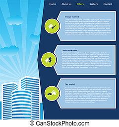 Website template design with cityscape and buying options