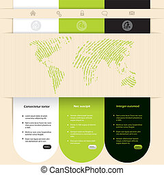 Website template design with contrast colors and different ...