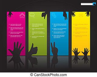 Website template design with hand symbols on color labels
