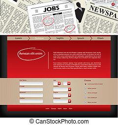 Website template design with newspaper header