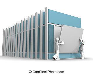 Website development concept two designer updating a website content 3d illustration