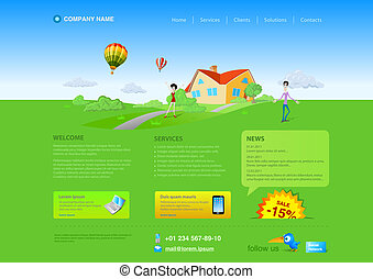 Website template: Countryside Realty Countryside house on green grass with blue sky and clouds and air balloons